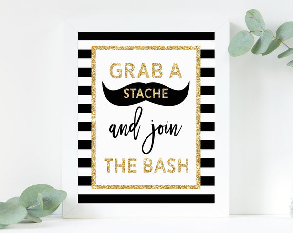 INSTANT DOWNLOAD Mr. Onederful Photo Sign, Grab A Stache And Join The Bash Sign Printable, Printable Mr One-derful Photo Props Sign, B02