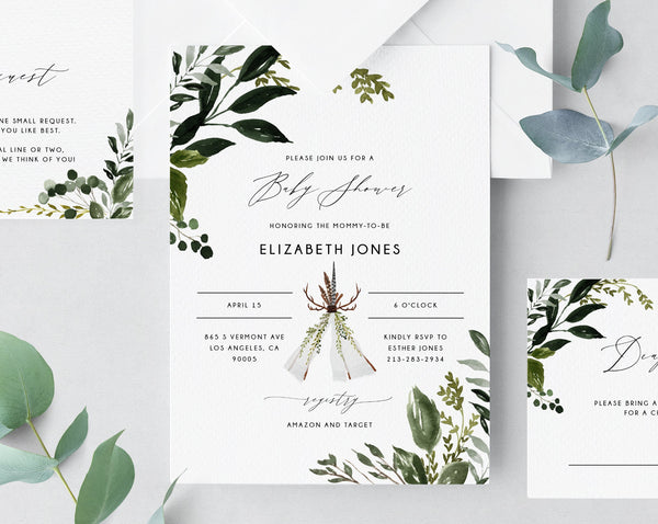 Boho Greenery Baby Shower Invitation Template, Printable Baby Shower Invitation, Woodland Themed, Instant Download, Templett, B54B