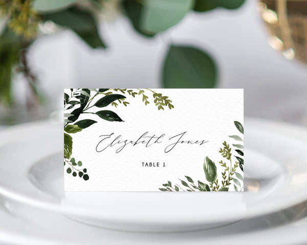 Greenery Wedding Place Cards Template, Seating Card, Boho Chic Wedding Escort Cards, Printable Tent Cards, Instant Download, Templett, W54B
