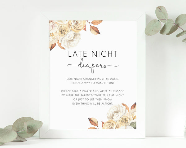Late Night Diapers Sign, Printable Fall Pumpkin Baby Shower Sign 8 x 10, Diaper Message Sign, Instant Download, B35