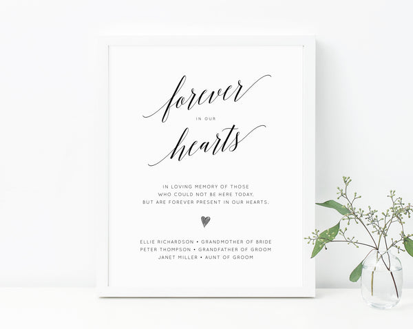 In Loving Memory Sign Template For Wedding, Printable Forever In Our Hearts Sign, Wedding Memorial Sign 8 x 10, Templett, W02