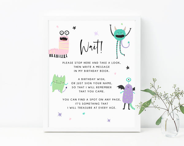 Pastel Halloween Party Guestbook Sign, Printable Monster Mash Birthday Decoration, Birthday Book Sign, Birthday Wish, Templett, B25