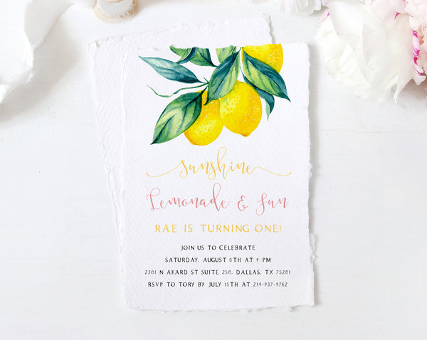 Sunshine, Lemonade and Fun Birthday Invitation Template, Printable Lemon First Birthday Invite, Lemon Birthday, Templett, B37
