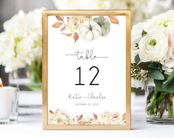 Fall Wedding Table Number Template, Printable Warm Rustic Floral Wedding Table Numbers, Pumpkin Wedding Centerpiece, Templett, W55