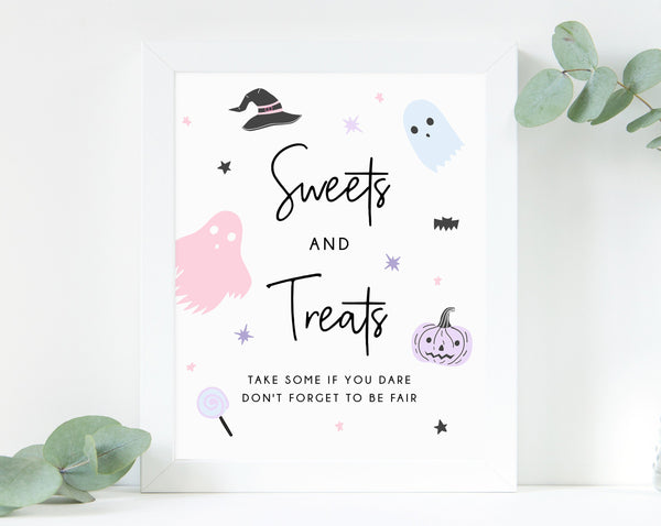 Pastel Halloween Party Sweets and Treats Sign, Printable Halloween Birthday Decoration, Candy Bar Sign, Trick or Treat, Templett