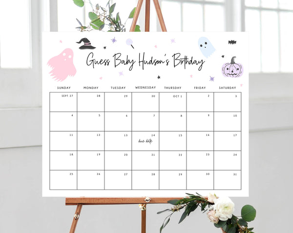 Halloween Due Date Calendar Template, Baby Due Date Game, Printable Baby Birthday Predictions, Guess The Due Date, Templett, B24