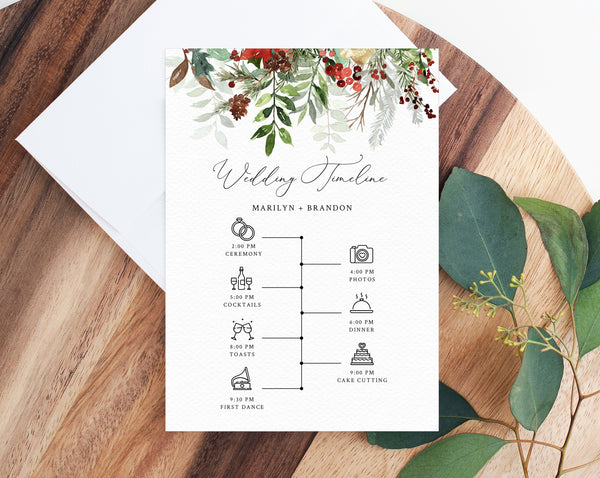 Winter Wedding Itinerary Template, Christmas Wedding Timeline, Holidays Wedding Agenda, Wedding Timeline Program, Templett, W46
