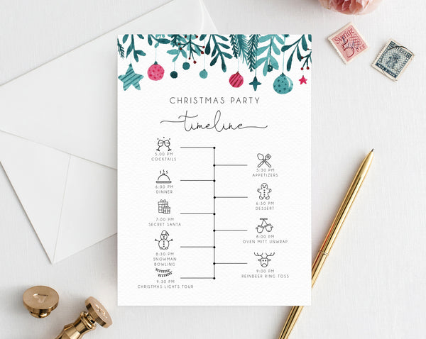 Christmas Party Itinerary Template, Christmas Party Timeline, Holidays Party Agenda, Christmas Itinerary Timeline Program, Templett
