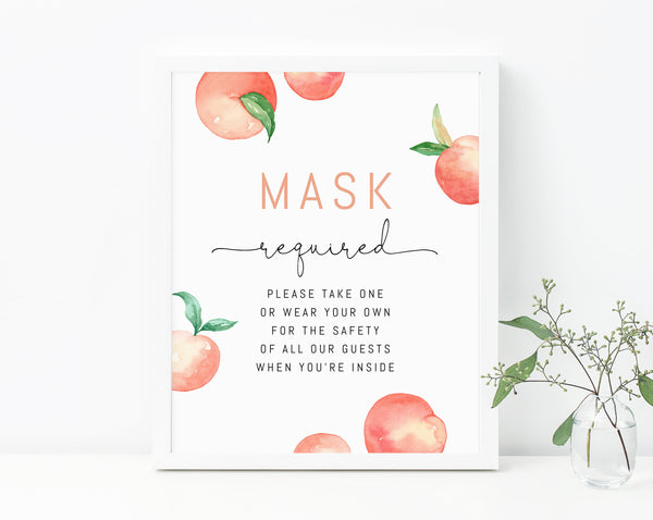 Peach Birthday Masks Sign, Peach Themed Face Mask Required Sign, Peach First Birthday COVID Safety Guidelines, B15