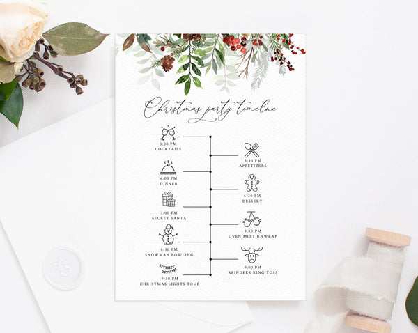 Christmas Party Itinerary Template, Christmas Party Timeline, Holidays Party Agenda, Christmas Itinerary Timeline Program, Templett, W46