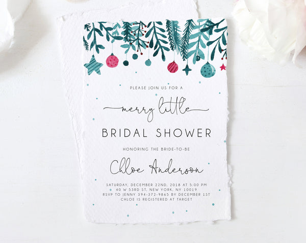 Winter Bridal Shower Invitation Template, Christmas Bridal Shower Invite, Merry Little Bridal Shower Invites, Templett