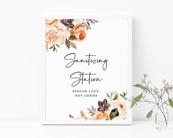 Fall Floral Wedding Sanitizing Station Sign, Printable Thanksgiving Party COVID Safety Guidelines Sign, Sanitizer Sign, Templett, W51