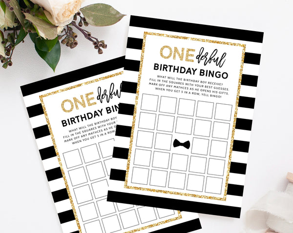 Mr. Onederful Birthday Bingo Game Template, Printable Mister Onederful 1st Birthday Game, First Birthday Bingo, Templett, B02