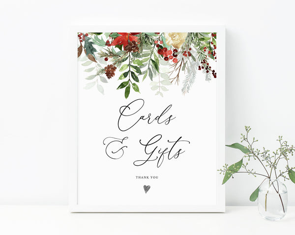 Christmas Wedding Cards & Gifts Sign, Winter Wedding Cards and Gifts Sign Printable, Wedding Sign Instant Download, Templett, W46