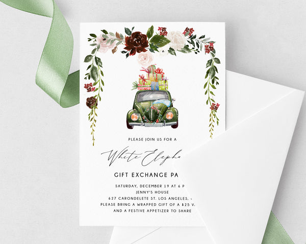 White Elephant Party Invitation Template, Christmas Party Invite, Printable Christmas Gift Exchange Invitation, Holiday Party, Templett, W54