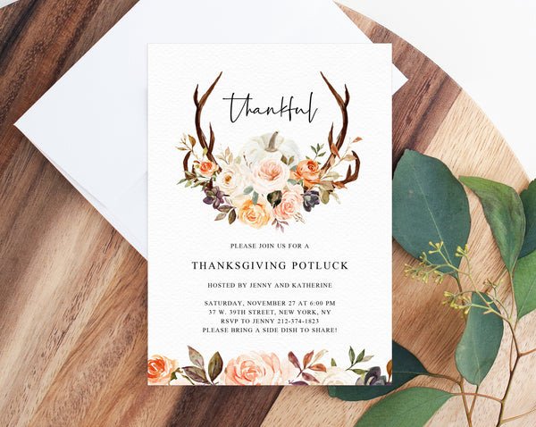 Thanksgiving Invitation Template, Printable Friendsgiving Potluck Invite, Editable Thanksgiving, Friendsgiving Dinner, Templett, W51