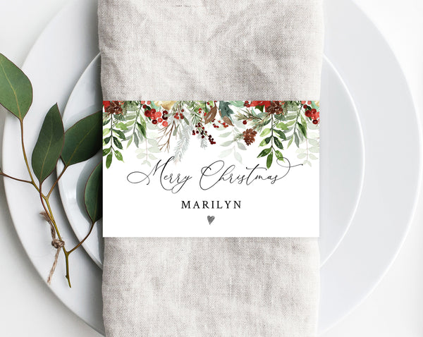 Christmas Napkin Ring Template, Printable Christmas Place Cards, Holiday Party Place Cards, Editable Template, Christmas Party, Templett