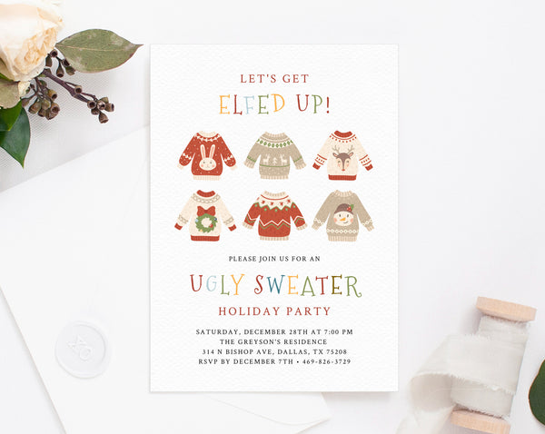 Ugly Sweater Christmas Party Invitation Template, Printable Ugly Sweater Holiday Party Invite, Ugly Sweater Winter Party, Templett