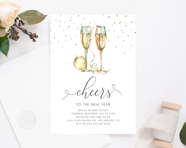 New Years Eve Party Invitation Template, Gold New Years Invitation, Printable NYE Invite, Editable Party Invitations, Holidays, Templett