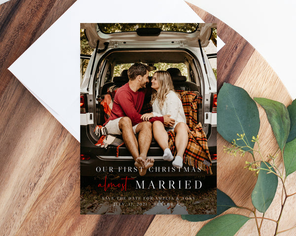 Almost Married Christmas Photo Card Template, Postponed Wedding Christmas Card, Printable First Christmas, Instant Download, Templett