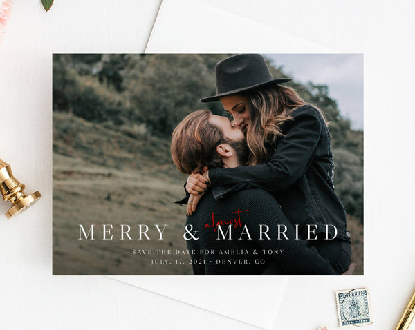 Almost Married Christmas Photo Card Template, Printable Merry & Almost Married Wedding Christmas Card, Instant Download, Templett