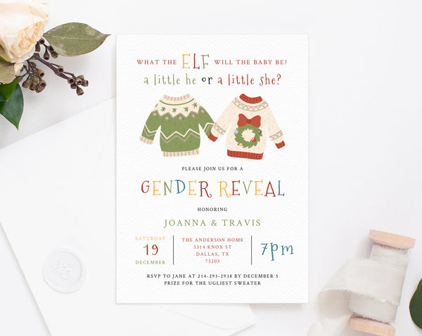 Christmas Gender Reveal Invitation Template, Ugly Sweater Gender Reveal Printable, He or She, Instant Download Gender Reveal, Templett