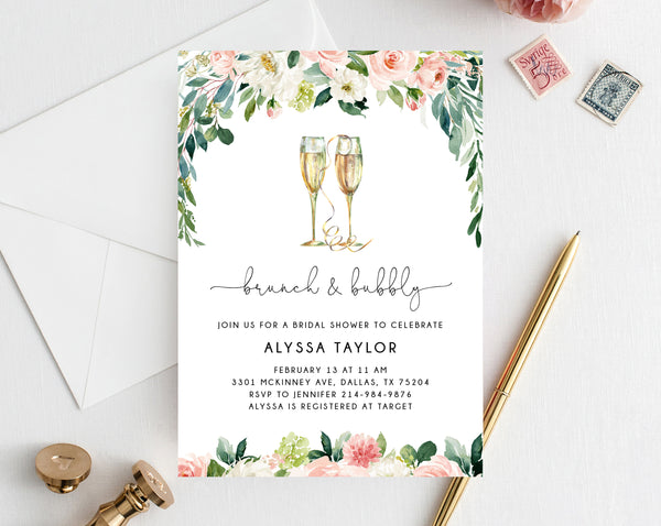 Brunch & Bubbly Invitation Template, Printable Bridal Shower Invite, Blush Floral Bridal Invitation, Bridal Shower Invites, Templett