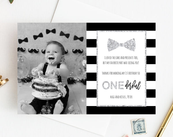 Silver Mr. Onederful Thank You Card Template, Thank You Photo Card, Mister One-derful Birthday Card, First Birthday, Templett, B02B