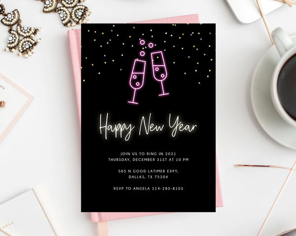 New Years Eve Party Invitation Template, Neon New Years Invitation, Printable NYE Invite, Editable Party Invitations, Templett