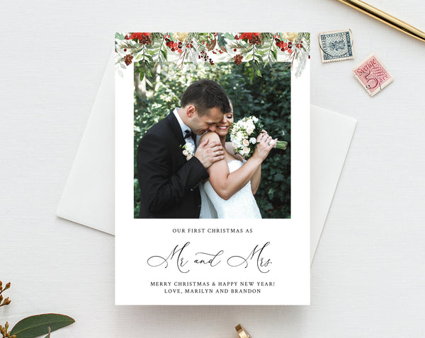 Newlywed Christmas Photo Card Template, Married Christmas Card, Printable First Christmas, Just Married, Instant Download, Templett, W46