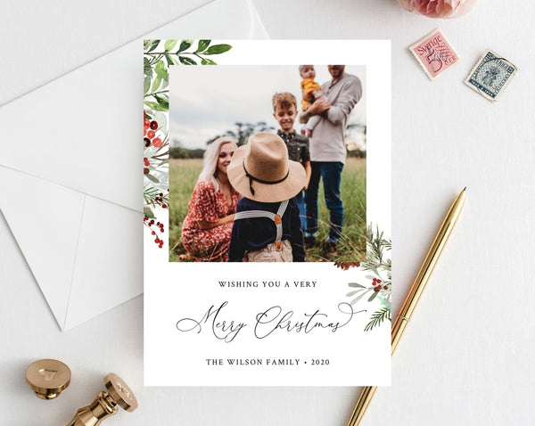 Christmas Photo Card Template, Holidays Card Template, Printable Christmas Card, Editable Template, Instant Download, Templett, W46