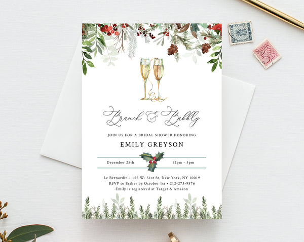 Brunch and Bubbly Bridal Shower Invitation Template, Christmas Bridal Shower Invite, Holidays Evergreen Bridal Shower Invites, Templett, W46