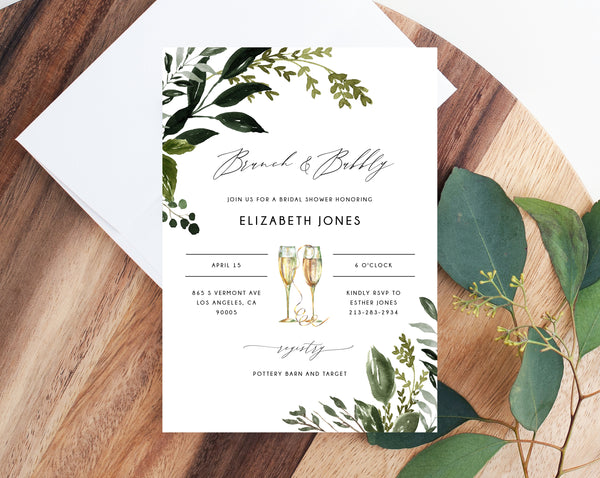 Brunch & Bubbly Invitation Template, Printable Bridal Shower Invite, Greenery Bridal Invitation, Bridal Shower Invites, Templett