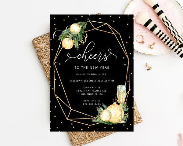 New Years Eve Party Invitation Template, Gold New Years Invitation, Printable NYE Invite, Editable Party Invitations, Templett, H03