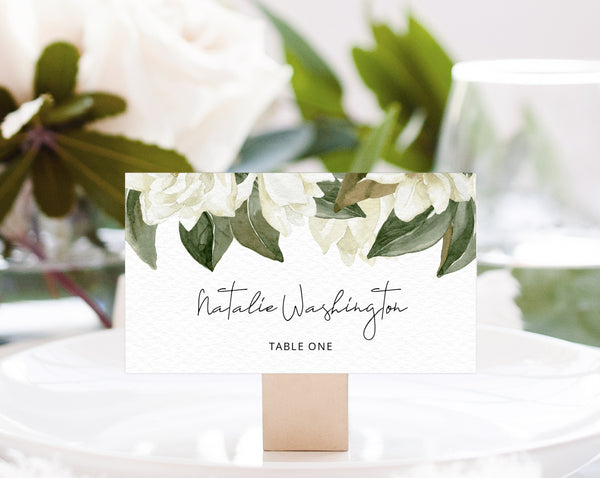 Magnolia Wedding Place Cards Template, White Floral Wedding Table Cards, Printable Wedding Seating Tent Cards, Templett, W35