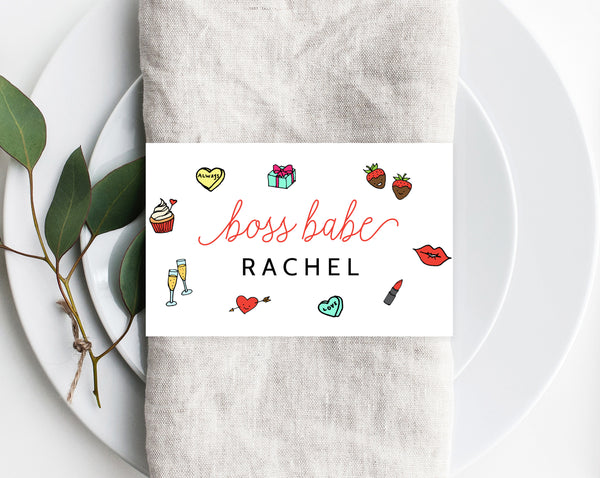 Boss Babe Galentine's Day Party Napkin Ring Template, Printable Galentine's Brunch Place Cards, Girls Dinner Editable Template, Templett