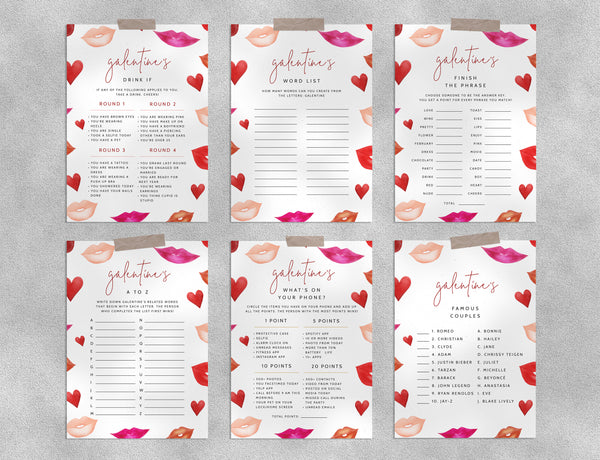 Galentine's Game Templates Bundle, Galentine's Day Games Instant Download, Girls Night Games, Drinking Game, Valentine's Day, Templett