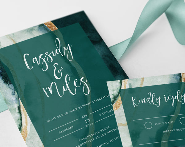 Forest Green & Gold Agate Wedding Invitation Template, Modern Wedding Invitation Suite, Teal Green Wedding Invitation Set, Templett, W57