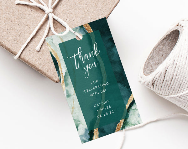 Forest Green & Gold Favor Tag Template, Wedding Favor Tags, Teal Green Agate Wedding Gift Tag, Thank You Label Printable, Templett, W57