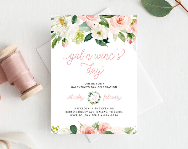 Galentine's Day Invite Template, Printable Gal N Wine's Party Invitation, Girl Friends Valentine's Day Party, Instant Download,  Templett