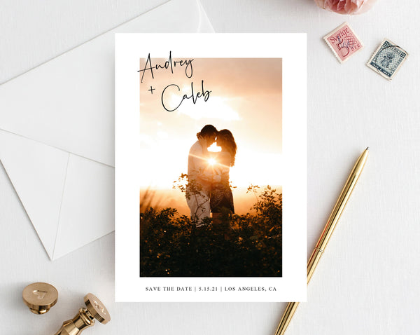 Photo Save the Date, Save the Date with Pictures Template, Printable Save the Date Card, Engagement Photo Save the Dates, Templett, W50