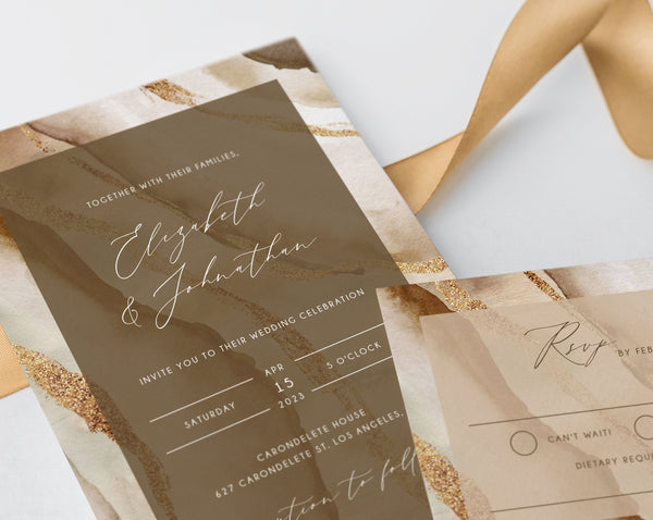 Rustic & Nude Agate Wedding Invitation Template, Modern Wedding Invitation Suite, Nude Cream Wedding Invitation Set, Templett, W56