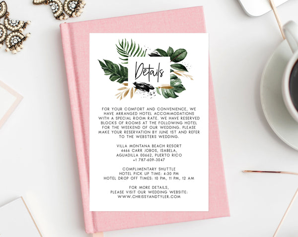 Wedding Details Card Template, Printable Details Insert, Tropical Wedding Enclosed Card, Palm Leaves Details Card, Templett, W44