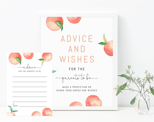 Peach Advice and Wishes Sign Template, Printable Peach Themed Advice For Parents To Be, Peach Advice Notes, Templett, B15