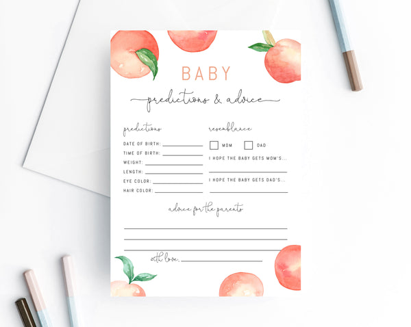 Peach Baby Predictions and Advice Template, Printable Peach Themed Advice For Parents To Be, Peach Baby Shower Game, Templett, B15