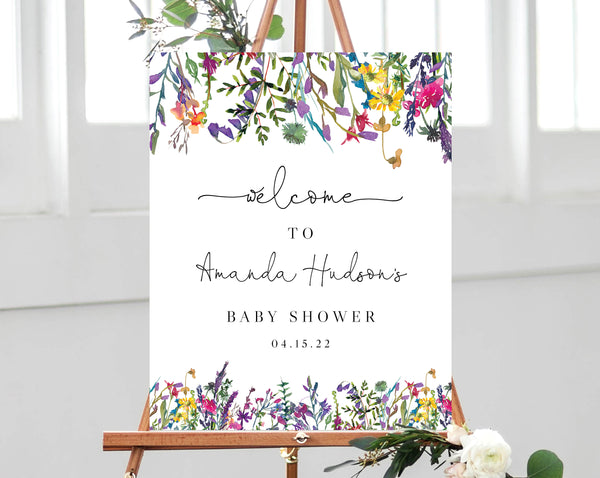 Spring Wild Flowers Baby Shower Welcome Sign Template, Printable Vibrant Floral Baby Shower Welcome Sign, Colorful Flowers, Templett, B16