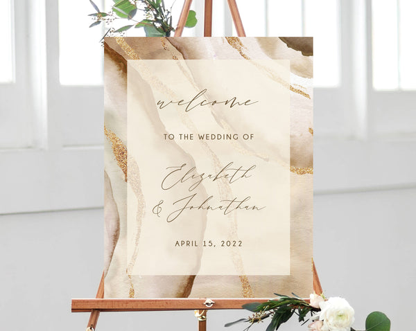 Rustic & Nude Agate Wedding Welcome Sign Template, Neutrals Welcome to the Wedding Printable, Welcome Board, Instant Download, Templett, W56