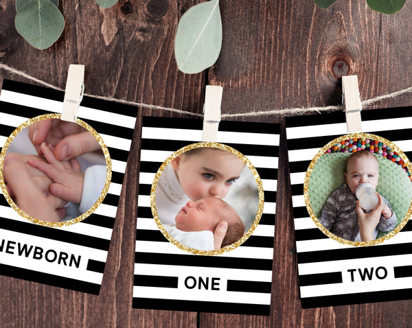 First Year Photos Banner Template, Printable First Birthday Monthly Photo Banner, 12 Months Photos, Mr. Onederful, Templett, B02
