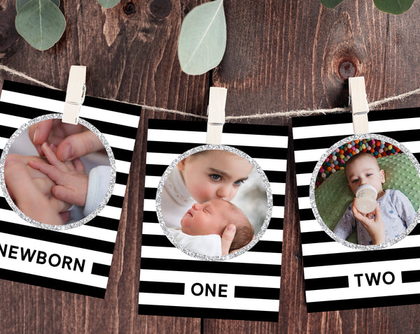 First Year Photos Banner Template, Printable First Birthday Monthly Photo Banner, 12 Months Photos, Mr. Onederful, Templett, B02B