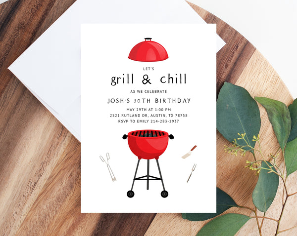 BBQ Party Invitation Template, Summer Graduation Invitation, Printable Birthday Backyard Party, Editable Backyard BBQ Invite, Templett